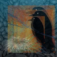 Corvus Familia Nidus #iphoneart #digitalart #digitalcollage #appart #ravens #nests #eggs #art #family #emptynest