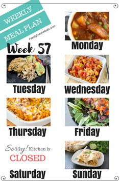 Easy Weekly Meal Plan Week 57 - The Effective Pictures We Offer You About simple Meal Planning A quality picture can tell you many th Budget Freezer Meals, Healthy Freezer Meals, Frugal Meals, No Cook Meals, Budget Recipes, Planning Menu, Family Meal Planning, Planning Budget, Meal Prep Plans