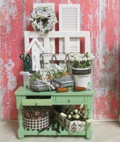 Miniature Garden Potting Bench112 Dollhouse by RibbonwoodCottage, $99.00