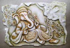 Ganpathi 3d Wall Murals, Tile Murals, Wall Tiles, Ganesha Painting, Tanjore Painting, Clay Wall Art, 3d Wall Art, Wall Sculptures, Sculpture Art