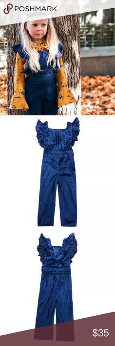 Blue Velvet Ruffle Sleeve Jumpsuit Ruffled effect, velour fabric Jumpsuit for toddler.  ***Prices are firm unless bundled because these are products from my actual boutique I own*** Bottoms Jumpsuits & Rompers