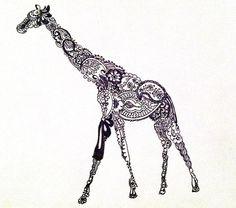 just because i love giraffeszzz.. Paisley Giraffe Tattoo