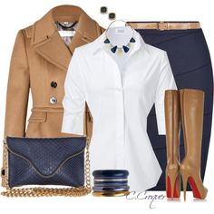 STEFFEN SCHRAUT White Valencia Fancy Blouse, BURBERRY LONDON Wool-Cashmere Addlesthorp Jacket in Ochre Brown, L.K. Bennett Vally Pencil Skirt, Navy, JJ Winters Leather Chain Strap Clutch with Zipper Edging in Navy Boa, Navy And Gold Assorted Bangle Stack, Dorothy Perkins Navy enamel necklace, Gold and Navy Enamel Caitie Stud Earrings, Dorothy Perkins Camel patent jeans belt, Christian Louboutin Brown Alti 140 Leather Boots