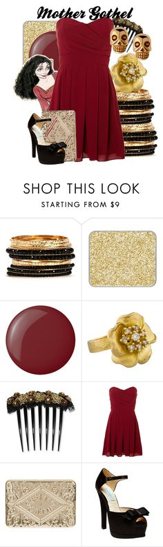 """""""Mother Gothel"""" by amarie104 ❤ liked on Polyvore featuring shu uemura, Essie, Disney, Dolce&Gabbana, TFNC, Anya Hindmarch and Betsey Johnson"""