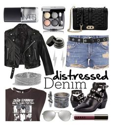 """""""Distressed Denim"""" by ittie-kittie ❤ liked on Polyvore featuring Nasty Gal, Lovers + Friends, R13, Yves Saint Laurent, Rebecca Minkoff, Michael Kors, Edge Only, David Yurman, Chanel and LORAC"""