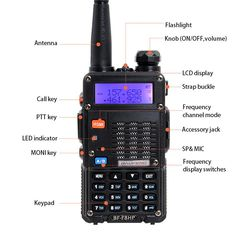 1 Pcs Baofeng F8HP PTT 2 Dual Band Portable VHF UHF Radio 128 Channels Walkie Talkie