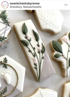 I live for a good greenery cookie stick . Fancy Cookies, Xmas Cookies, Cute Cookies, Flower Sugar Cookies, Iced Sugar Cookies, Bolacha Cookies, Galletas Cookies, Cookie Icing, Royal Icing Cookies