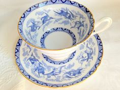 Fortuitous Storks Shelley Tea Cup and Saucer, Blue and White Bone China, Tea Cups and Saucers, Cups and Saucers, Bird Tea Cups, Tea Set
