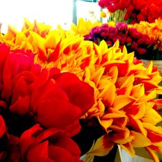 Flowers at Pike Place Market in Seattle...I love Pike Place Market, especially the fish throwing guys!