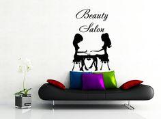 Wall Decal Salon de beauté cheveux Salon Fashion Girl femme coupe de cheveux coiffure salon de coiffure stickers vinyle autocollant mur décor Art