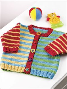 Knitting - Patterns for Children Babies - Cardigan Patterns - Sunny Stripes More