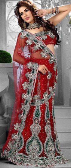 #Red Net #Lehenga #Style Saree with Blouse Itemcode: SKK13947 Price: $552.08 #Shop Now @ http://www.utsavfashion.com/saree/red-net-lehenga-style-saree-with-blouse/skk13947-itemcode