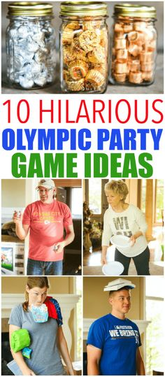 These Olympic party games are games you can play with things at home. Hilarious and great for kids or adults! The best Olympic party games you'll ever play! Wedding Party Games, Pool Party Games, Outdoor Party Games, Outdoor Games For Kids, Adult Party Games, Adult Games, Abc Games, Indoor Games, Pep Rally
