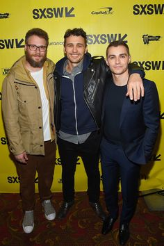 Actor/producer Seth Rogen, actor/director James Franco, and actor Dave Franco attend 'The Disaster Artist' premiere at the 2017 SXSW Conference and Festivals.