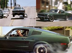 Chace scene. Steve McQueen in BULLIT. There were no stunt drivers for McQueen skilled driving.