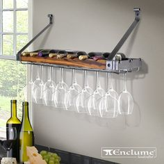 Shop the Signature 8 Bottle Wall Mounted Wine Bottle Rack and Glass Rack at Perigold, home to the design world's best furnishings for every style and space. Plus, enjoy free delivery on most items. Wine Glass Storage, Hanging Wine Glass Rack, Wine Glass Shelf, Glass Shelves In Bathroom, Floating Glass Shelves, Wine Glass Holder, Wine Bottle Rack, Bottle Wall, Wine Rack Inspiration