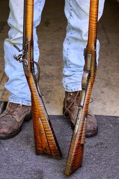 Longhunter, Powder Horn, Long Rifle, Rifles, Firearms, Horns, Kentucky, Old School, Twin