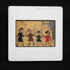 This LS Lowry RA painting is printed as one of the set of ten Royal Mail postage stamps called 'Greetings Clown' issued in 1995. The unused stamp is titled 'Children Playing' and shows his distinctive and unique style. The image is encased in a vintage slide mount, with glass, making this a unique piece of jewellery.