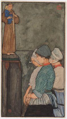 Drie Volendammer vrouwen bij beeld van Antonius van Padua
