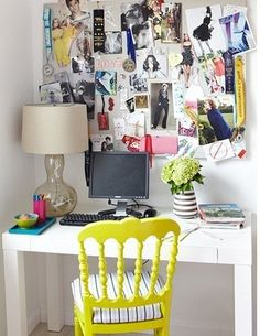 I want a small corner desk with a whimsical chair, kind of like this- but, perhaps with a less cluttered wall!