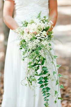 Cascading Bridal Bouquet: White & Pastel Pink Florals + Green Trailing Ivy & Additional Greenery/Foliage
