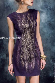 """Платье валяное, вечернее """" Lilu """" - тёмно-фиолетовый,платье,платье коктейльное"""