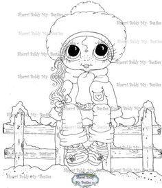 INSTANT DOWNLOAD Digi Stamps Big Eye Big Head Dolls Digi Bestie IMG100010 By Sherri Baldy