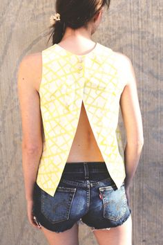Handmade Yellow Shirt  Mod Top with white by IvyandMeApparel, $290.00