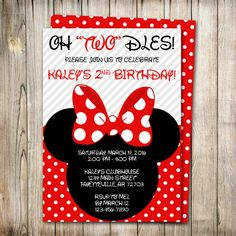 Minnie Mouse Birthday Invitation Oh Twodles by ThePaperTrailCo