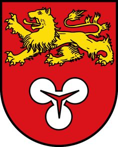 Arms of Hannover, Germany Blazon: Gules in chief a lion passant or, in base a trefoil argent pierced of the field