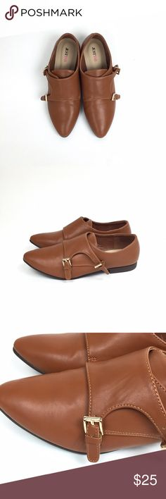 Cognac pointed toe loafers Brand: Just Fab Size: 8 Color: Cognac New(no box)   Monk strap  Pointed toe Loafers  Faux leather  Small heel  Good buckle( adjustable)  No Trade  Last picture shoes a small mark on shoe JustFab Shoes Flats & Loafers
