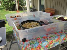 Instead of using a kiddy pool use an underbed shoe box for holding ice for your picnic salads.  The lids make a good cover to keep bugs out too and keeps the cold in longer.