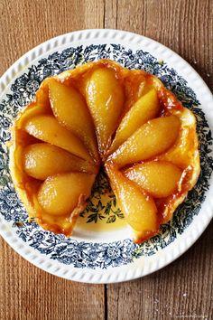 Pear tarte tatin with creme fraiche