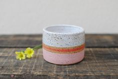 Ceramic Speckled Stoneware Cup with Pink Stripes by Michelle Luu Pottery