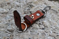 Leather keyring Keychain-Belt Clip keyring-Hand Stitched