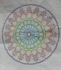 Mandala a crochet Motif Mandala Crochet, Crochet Doily Patterns, Crochet Blocks, Crochet Diagram, Crochet Chart, Crochet Doilies, Crochet Flowers, Crochet Stitches, Crochet Round