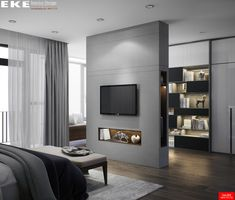 Designed & Visualized by EKE TeamTans House. Designed & Visualized by EKE Team Modern Luxury Bedroom, Luxury Bedroom Design, Bedroom Closet Design, Home Room Design, Luxurious Bedrooms, Home Bedroom, Home Interior Design, Tan House, Living Room Partition