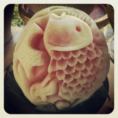 Watermelon carving. Fruit carving is traditional to Balinese people, and you can see how good they are at this.