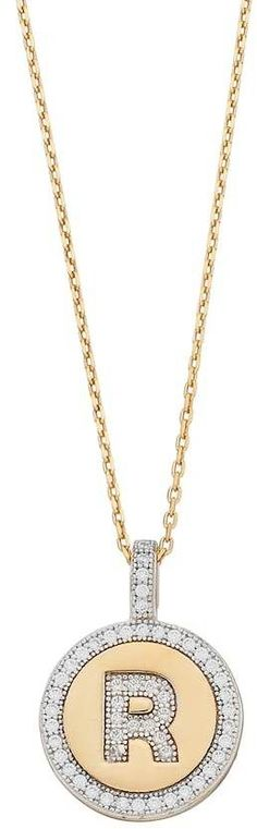 14k Gold Over Silver Cubic Zirconia Initial Pendant Necklace