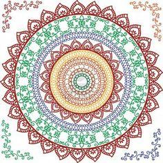 Detailed and colourful Mandala Design Stock Photo