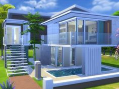 This is a small family home. Found in TSR Category 'Sims 4 Residential Lots&… This is a small family home. Sims 4 Modern House, Sims 4 House Design, Sims 4 House Plans, Sims 4 House Building, Casas The Sims 3, Plans Architecture, Home Design Floor Plans, Small Modern Home, Sims 4 Build