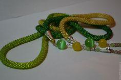 Купить Жгут - лариат ЗЕЛЁНЫЙ с натуральными камнями - зеленый, лариат, лариат из бисера, лариат купить