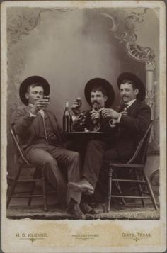ca. 1895, [Three men toasting and smoking pipes], H.D. Klenke via the Southern Methodist University, Lawrence T. Jones III Texas Photograph ...