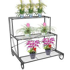 Metal Plant Stand 3 Tier Flower Pot Holder Outdoor Garden Patio Planter Bronze for sale online