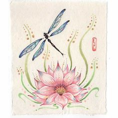 """The soul unfolds itself like a lotus of countless petals."" ~ Kahlil Gibran ~ Original Dragonfly Painting with lotus flower on Etsy Dragonfly Tatoos, Dragonfly Images, Dragonfly Painting, Dragonfly Tattoo Design, Dragonfly Art, Dragonfly Meaning, Dragonfly Quotes, Lotus Flower Tattoo Meaning, Lotus Flower Art"