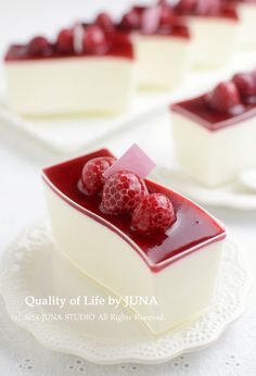Yogurt Mousse with Raspberries (recipe in Japanese I think, but the image is enough inspiration to figure out what to do - add gelatin and sugar to yoghurt and allow to set) Fancy Desserts, Just Desserts, Delicious Desserts, Dessert Recipes, Yummy Food, Mini Cakes, Cupcake Cakes, Beautiful Desserts, Love Food