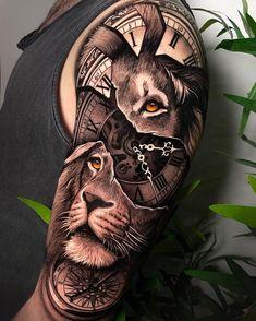 Tiger Tattoo Sleeve, Realistic Tattoo Sleeve, Lion Tattoo Sleeves, Sleeve Tattoos For Women, Tattoo Sleeve Designs, Daddy Tattoos, Lion Head Tattoos, Mens Lion Tattoo, Body Art Tattoos