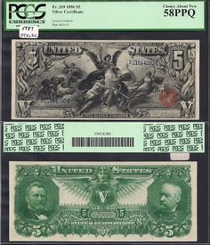 1896 Educational Series $5 Silver Certificate. What US currency used to look like. I really like the educational series notes.