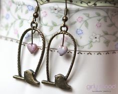 ♥ Retro Bird Earrings with Powder Pink Heart