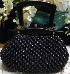 Vintage 1960's Marcus Brothers of Italy Raffia Beaded Handbag Lucite Handle | eBay